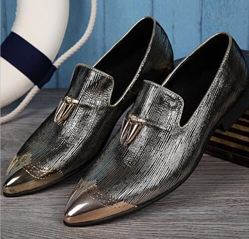 New Fashion Cruises Metal Tip Wedding Shoes Man Stage Silver Brand Top Quality Dress Slip-On Logging Suit Men Leather Shoes