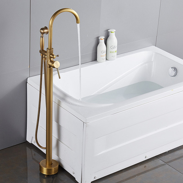 best selling Contemporary commerical Antique Golden Floor Standing Bathtub Fauce single handle dual control Mixer Shower Set For Bathroom
