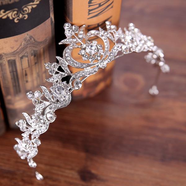 Moda Jóias de Cabelo de Ouro e Prata Liga Coroa Headwear Acessório de Vestuário de Casamento Crown Coroa de Noiva de Noiva de Cabelo