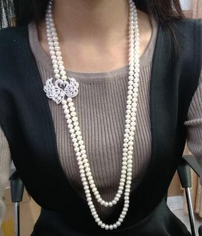 """Free Shipping double strands 9-10mm white round pearl necklace 24 """"26"""""""