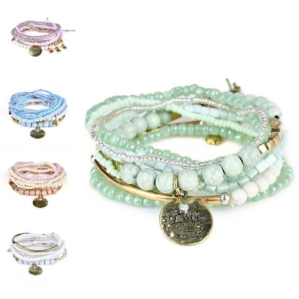 Bohemia Sea Love Multilayer Bracelet Cuffs Acrylic Beads Chain Fashion Jewelry for Women Kids Gift Drop Ship 320109