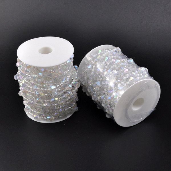 10m roll Wedding Decor Acrylic Crystal Beads Curtain Garland Shimmer Curtains Garland Strand Wedding Crystal Acrylic Bead roll KKA7053
