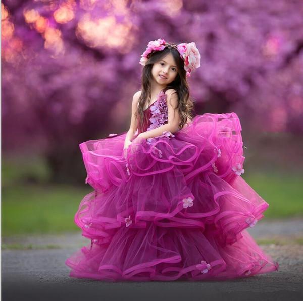 Удивительное бальное платье для девочек Pageant Платья 3D Цветочные аппликации Многоуровневые оборки Платья для девочек-цветочков Пухлые органзы Дети Дети Платья для вечеринок