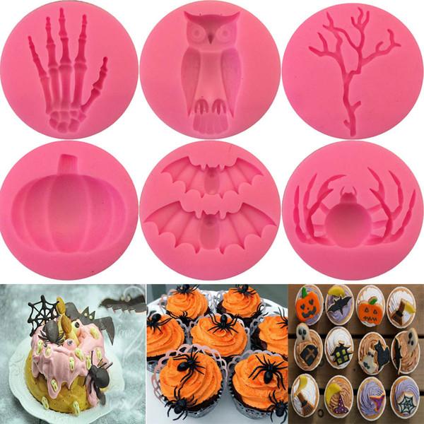 Halloween Decoration Cake Chocolat Fondant Silicone Molds Pumpkin Bat Owl Spider Shape Kitchen Baking Molds Cake Decorating Tools MMA2562