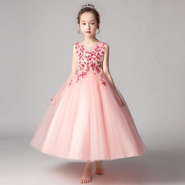 Розничная торговля девушками свадебные платья бисером цветок бабочки вышитые backhollow большой бант сетка платье юбки партии принцесса вечернее платье