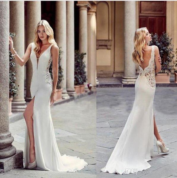 2019 Sexy Greek Fashion Sheath Wedding Dresses Deep V Neck Front Split Backless Bridal Gowns Bride Beach Party Wear