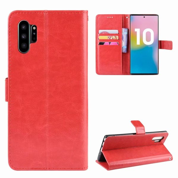 Etui portefeuille en cuir pour Samsung S9 S10 E Plus A6 A7 J4 Core J6 2018 A50 A70 Note 10 Pro Retro Crazy Horse Etui à rabat avec dragonne Fente pour carte