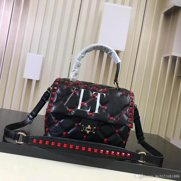 2019Studded portable flap bag Candystud handbags Women's shoulder diagonal bag Italian luxury brand designer Calf leather material free