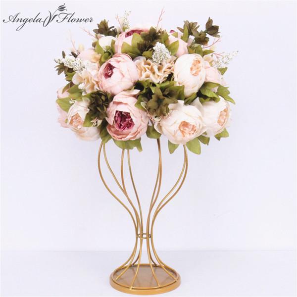 Centrotavola 35cm di fiori artificiali personalizzati + 1m peonie fiore disposizione disposizione di fila matrimonio arredamento tavolo da sposa bouqet