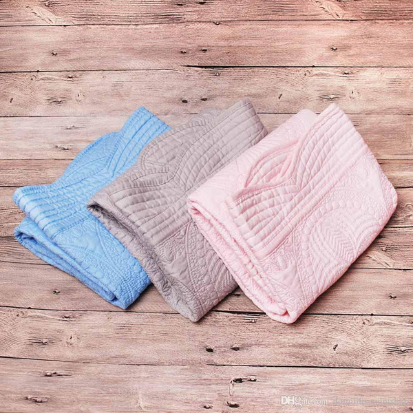best selling Wholesale Blanks Heirloom Baby Quilts Cotton Baby Blankets quilted Navy White Ruffle Minky Toddle Baby Gift Newborn Swaddle Blanket DOM538