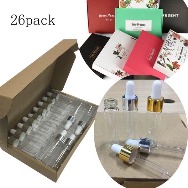 26PACK 15ml / 0.5oz Vacío recargable Claro Perfume de aceite esencial Botella de vidrio cosmética Frasco de frasco con frasco gotero
