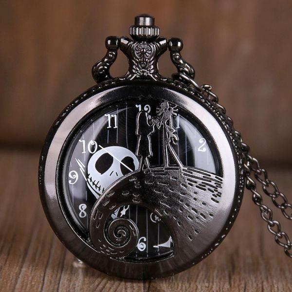 The Nightmare Before Christmas Quartz Pocket Watch Antique Black Steel Men Women Pendant Necklace Clock Gifts Fob Watch