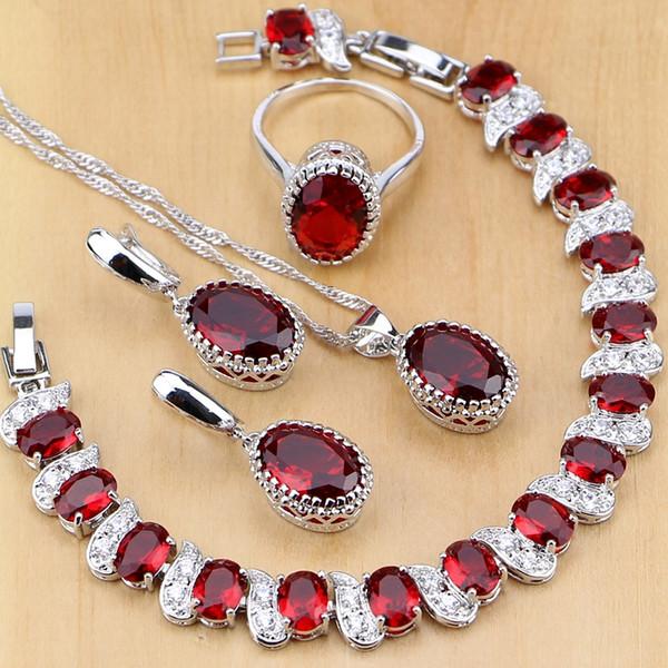 Doğal 925 Ayar Gümüş Takı Kırmızı Birthstone Charm Takı Setleri Kadınlar Küpe / Kolye / Kolye / Yüzük / Bilezikler T055