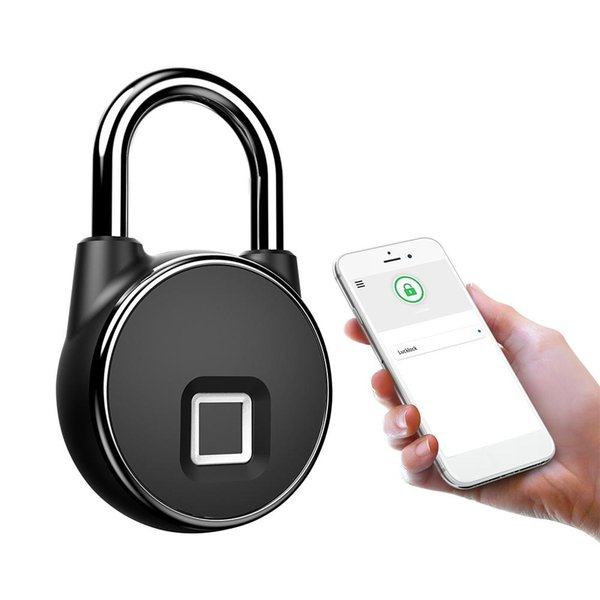 top popular P22+ Mobile Phone APP Control Waterproof Fingerprint Padlock Support Low Battery Alarm APP Remote License Unlock 2021