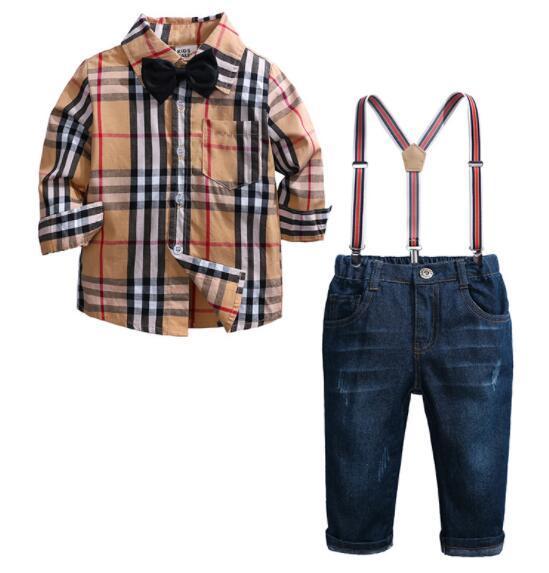 Bebek Erkek Giyim Seti Avrupa ve Amerika Çocuklar Uzun Kollu Ekose Pamuklu Gömlek + Askı Pantolon Suit 2 adet Setleri Çocuk Kıyafetleri