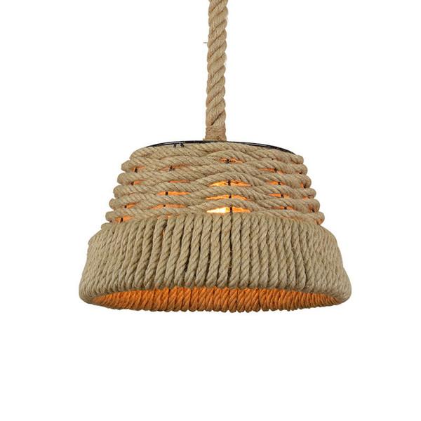 Vintage Hemp Rope Pendant Lights Retro Loft Industrial Hanging Lamp for Living Room Kitchen Home Light Fixtures Decor Luminaire