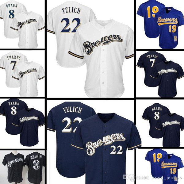 the best attitude 9259a 36d14 22 Christian Yelich Milwaukee Brewers Jersey 8 Ryan Braun 7 Eric Thames 19  Robin Yount Embroidery Baseball Jerseys UK 2019 From Flyingjersey88, UK ...