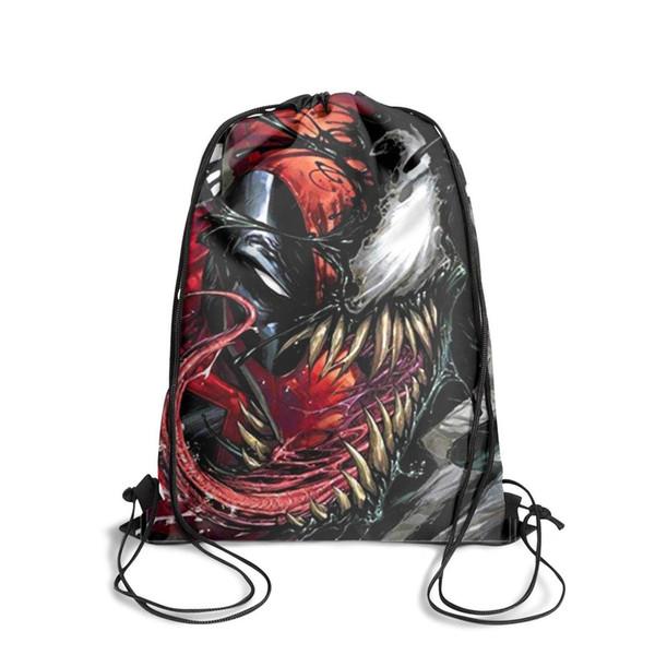 Drawstring Sports Backpack Venom vs Deadpool Graphicvintage convenient Yoga Travel Fabric Backpack