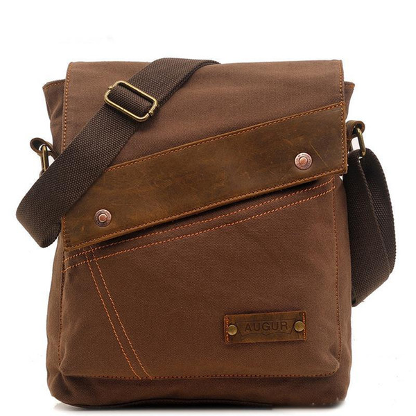 Brand Leather&canvas Vintage Casual Mens Flap Crossbody Shoulder Bag Small Messenger Bags Travel Zipper Bag