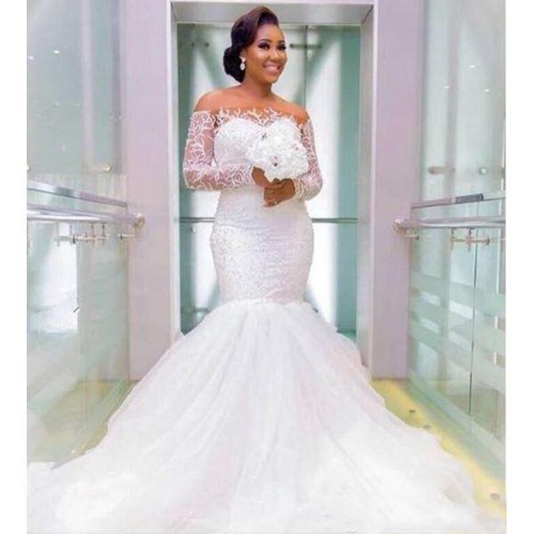 Elegant Long Plus Size Wedding Gowns Mermaid Long Sleeves Appliques Lace Sheer Bateau Bridal Dresses Western Maxi Dress For Big Size Brides