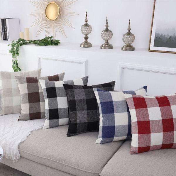 Fabulous Cushion Covers Plaid Throw Pillow Case Linen Waist Pillowslip Rural Decorative Pillowcases Sofa Car Home Decor 12 Designs Yw3132 Decorating Pillows Andrewgaddart Wooden Chair Designs For Living Room Andrewgaddartcom