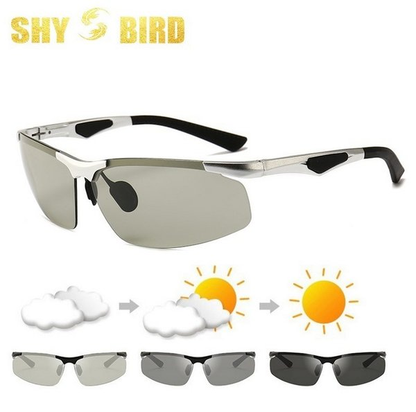 2019 Driving Photochromic Tag und Nacht Sonnenbrille Men Polarized Chameleon Discoloration Sonnenbrille für Männer Mode randlose Sonnenbrille 3009