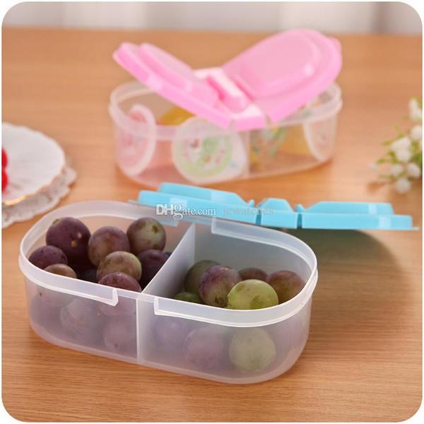 Caja de almacenamiento de alimentos de plástico 2 Rejilla sellada Granos de frutas y verduras Almacenamiento en el tanque Clasificación de alimentos Contenedor de la caja de almacenamiento de alimentos