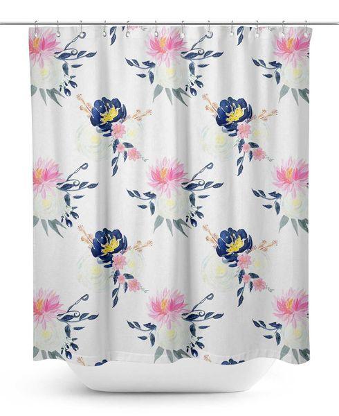 S4Sassy Blumen Durable Stoff Mildew Bad-Accessoires Kreative mit 12 Haken 180x180cm 1970