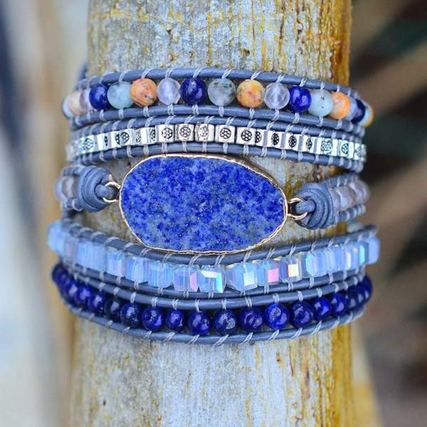 Drop Shipping Pierres Naturelles Lapis Charme 5 Brins Wrap Bracelets À La Main Boho Bracelet Femmes En Cuir Bracelet En Gros SH190723