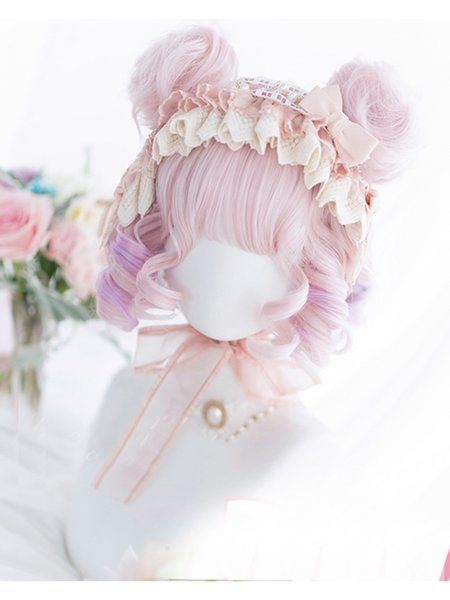 Cosplaysalon 30CM Lolita Cute Pink Mixed Purple Ombre Curly Princess Bangs Japan Bob Hair Cosplay Wig Synthetic