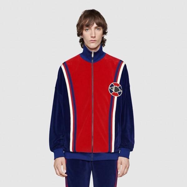 Luxe Europe Rouge Et Bleu Couture Logo Zipper Baseball Uniforme Mode Casual Hommes Et Femmes Couples Vendant De Haute Qualité Veste HFSSJK164