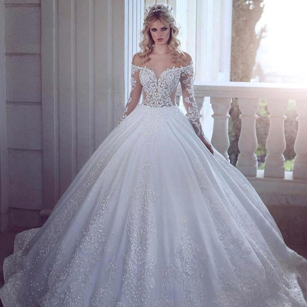 Romantic Elegant White Ball Gown Wedding Dresses 2019 Long Sleeves Lace Appliques Sequins Country Wedding Bridal Gowns