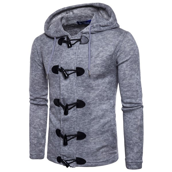 Mens Sweater 2019 Spring and Autumn New Fashion Horn Knock Hoodie Casual Solid Color Jacket British Style Sweaters Cardigan S-2XL