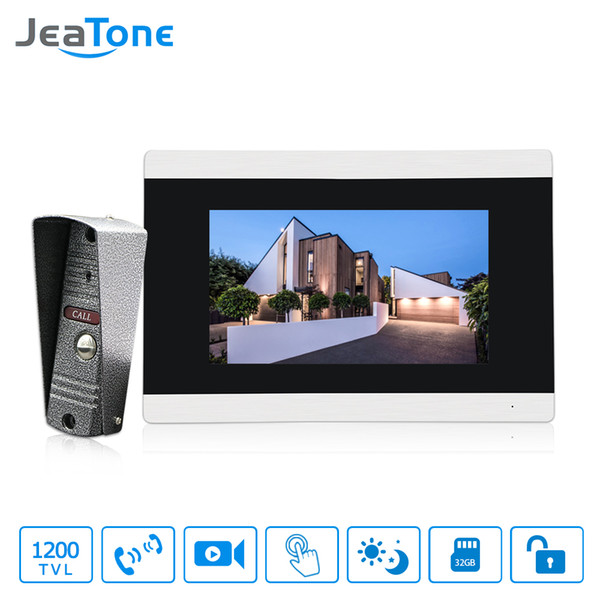 "JeaTone Intercom Door Lock System Video Doorbell Hd 7 "" Touch-Screen Doorbell Security Cameras Video Intercom Home"