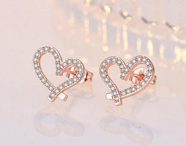 Новейший конструктор Love Heart серьги с кристаллическим 18K Позолоченные серьги Сияющий бриллиантовые серьги для женщин Белый циркон серьги