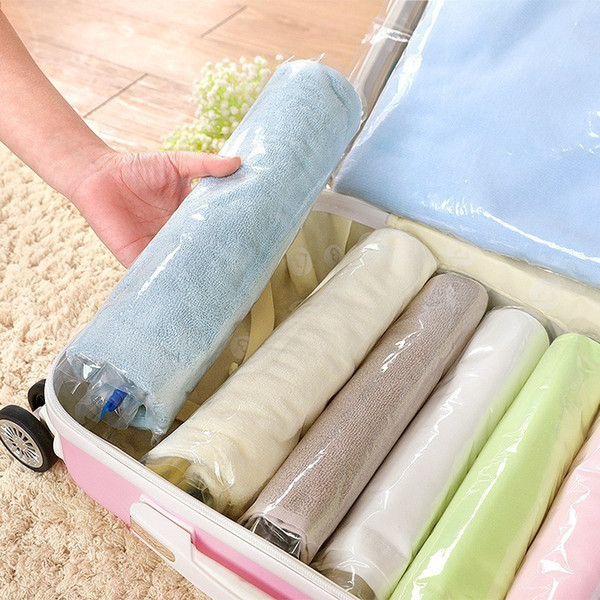 Clothes Compression StorageHand Rolling Plastic Packing Travel Space Saver BagPl