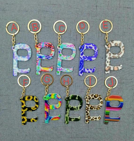 best selling Acrylic No Touch Door Hook Sunflower Print Touchless Door Opener Wholesaler Acrylic Contactless Door Opener Keychain