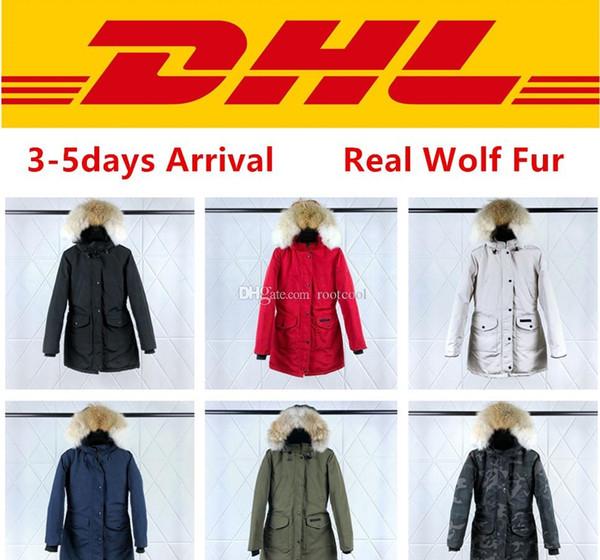 Üst Kalite Kanada TRILLIUM PARKA FUSION FIT Kadın Kabanlar Gerçek Kurt Kürk Palto Tasarımcı Aşağı Ceket XS-2XL # 07