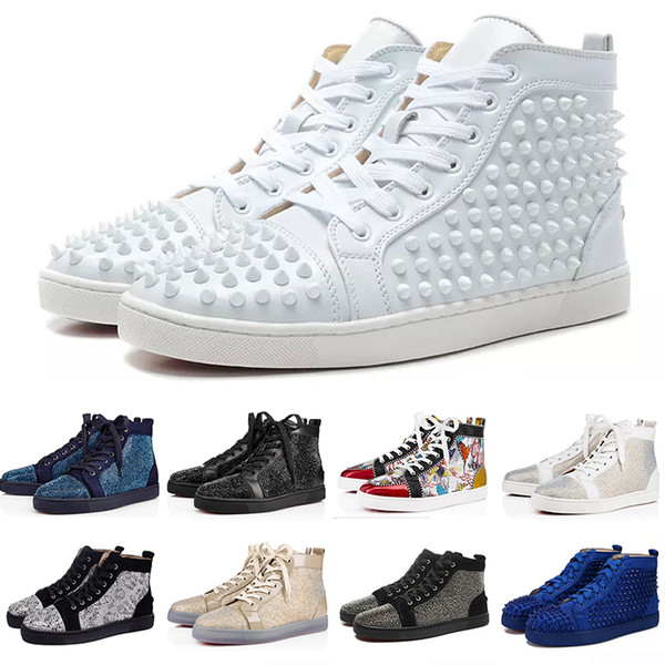 Fashion Echtes echtes Leder Sneaker Designer Marke Nieten Spikes Wohnungen Schuhe Herren Sandalen Red Bottom Schuhe Für Männer und Frauen Party Liebhaber