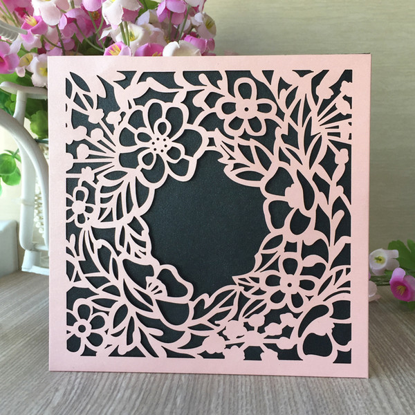 35PCS /lot Grand Flower Wedding Invitation Cards Decoration With Lace Flower Invitation Card Apply To Ceremony Festival Gift Greeting