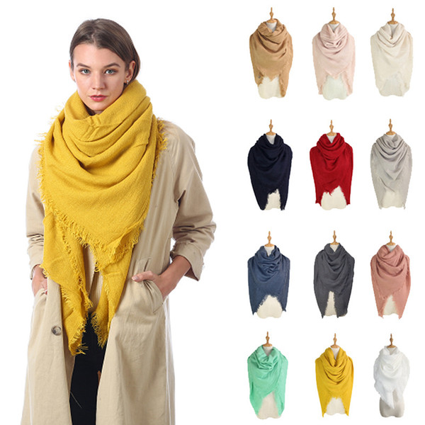 top popular 13styles Solid Scarves Blankets Tassel Square Wraps Winter Air Condition Shawl Fringed Muffler Neck Scarf Ring Plain Neckerch 140cm FFA2875- 2021