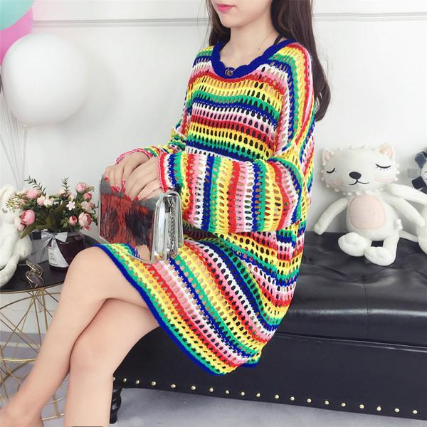 2019 Sonbahar Kadın Örme O-Boyun Kazak Kore Tarzı Moda Gökkuşağı Şerit Gevşek Kazak Femme Kazaklar Oymak Tops