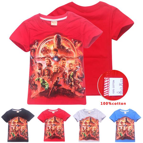 Marvel Avengers Superhero Kids Tee shirts 4 Colors 4-12t Kids Boys Girls Cartoon Printed Cotton T shirts Tees kids designer clothes SS212