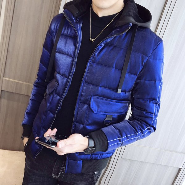 Fashion Parka Mens Hooded Jackets Man Winter Warm Clothes Royal Blue Winter Jackets Mens Casacos De Inverno Silver Bomber Jacket