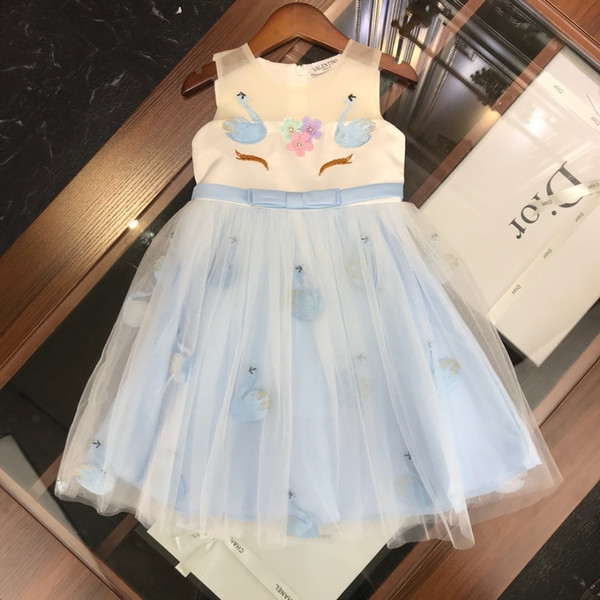 Children's Wear Girls' Two-Piece Skirt New Unicorn Swan Embroidered Princess lace tutu Dress dresses children frozen baby romper velvet
