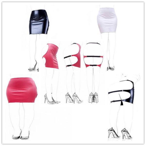 Red/White/Black Sexy Women Pu Leather Slave Spanking Skirt Open Hip Bondage Fetish Cosplay Mini Dress Adult Sex Toys
