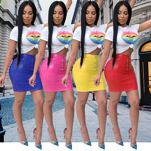 Sexy PVC Midi mujeres camiseta vestido de dos piezas Set Shinny PU cuero Lady Bodycon vendaje cremallera Night Club vestido