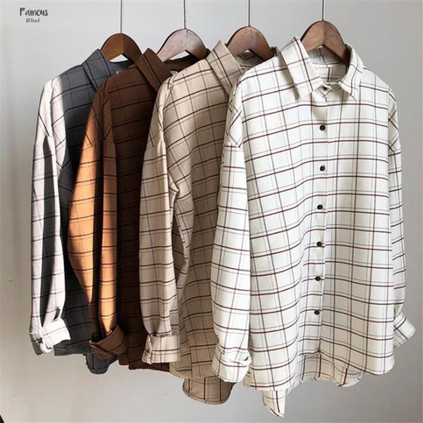 Blusen Baumwolle Checkered Plaid College-Female Shirt Cage Langarm Casual Women Bluse Shirt Büro-Dame Tops