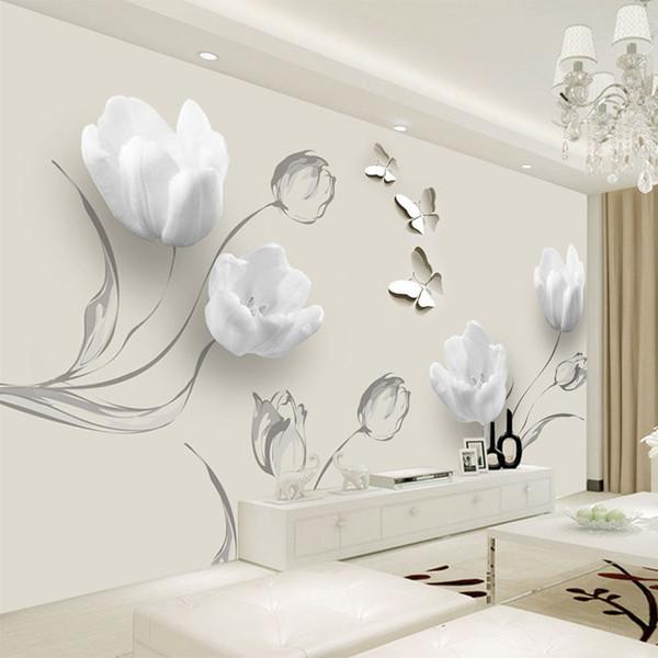 Пользовательского Mural обои Современного 3D Stereo Тюльпан бабочки Цветы Настенной живопись Мода Гостиной Декор Главных обои для 3 D