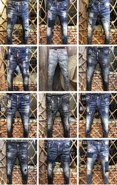 Italia ICON D2 Clásico Hombre Moda Jeans Hip Hop Rock Moto Hombre Casual Diseñador Pantalones vaqueros desgarrados Desgastado Flaco Denim Biker Jeans Pantalones de hombre